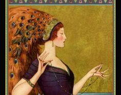 Whimsical Art Deco Theatre Cover Poster W.T. Benda Costume Masks Stage Peacock Girl in Headdress  1922 Giclee Fine Art Print 12x18