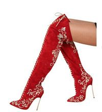 2014 New Arriver Red Suede Leather Pointed Toe Over The Knee High Heel Boots Women Brand Sexy Embroidery Long Boot(China (Mainland))