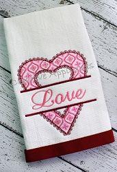 Split Lace Heart Applique - 4 Sizes!   Font Frames   Machine Embroidery Designs   SWAKembroidery.com Creative Appliques