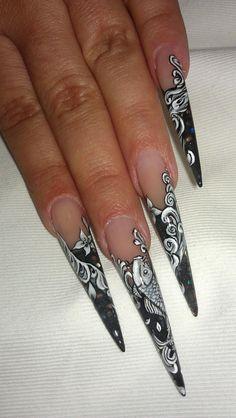 Black and white koi stilettos
