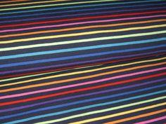 Stoffe gemustert - Jersey Regenbogen Streifen auf marine-blau 995003 - ein Designerstück von Nordlicht-Stoffe bei DaWanda
