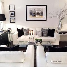 Grey and white decor living room superb black and white living room decor l Home Living Room, Apartment Living, Living Room Designs, Living Room Decor, Living Area, Bedroom Decor, Living Room Inspiration, Home Decor Inspiration, Decor Ideas