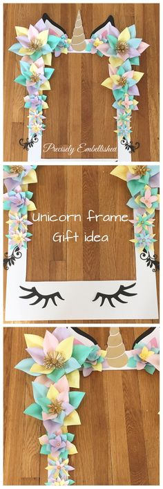 Unicorn frame - gift idea - party idea - idea for kids - photoframe #ad #eenhoorn #flower #pastel #craft #made #diy #wedding #birthday