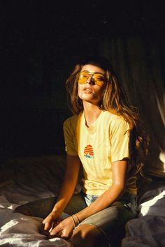 golden retro tee + sunglasses