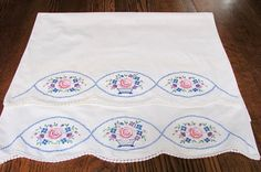 Vintage Embroidered Pillowcases Vintage linens Embroidered