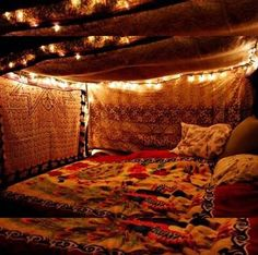 Boho hippie gypsy love den cosy bed