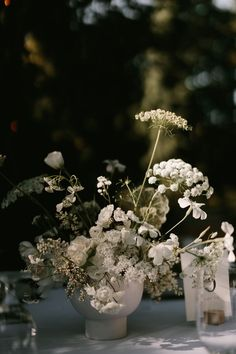 A chic + minimal wedding chock full of inspiration from Seattle Wedding Florist Botanique, featuring delicate all-white floral design and modern black and white details! Wedding Reception Flowers, Wedding Reception Centerpieces, Reception Ideas, Floral Wedding, Fall Wedding, Wedding Bouquets, Wedding Stuff, Colour Schemes, Wedding Color Schemes