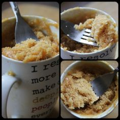 Peanut Butter Mug Cake 4T flour 4T white sugar 1/4 tsp baking powder  1 egg  3T peanutbutter 3T milk  3T veg oil Combine all ingredients well, until smooth in an oversized coffee mug. Microwave on high for 1 1/2 min and then take out to check if it is done. If not, continue to micro in 30 sec intervals. Mine was done at 2 min. You don't want to overcook it or it will become rubbery. You can also make this into two smaller-sized mugs.