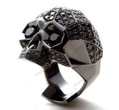 3.90 CT Round Diamond 14K Black Gold on 925 Silver Punk Skull Men's Ring Sz 7-14 #aonebianco #SkullRing