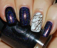ILNP:  ☆ Homecoming ☆... a deep eggplant purple linear holographic nail polish with some golden microglitter (Fall 2014 Collection) + tree branch stamping nail art using Winstonia plate