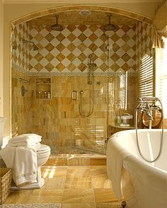 Very Sharp Honey Onyx Master Bathroom I Want The Commode Somewhere Private Maybe Just Behind Gl Blocks