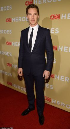 Looking good: Benedict Cumberbatch turned heads on the red carpet at the 2014 CNN Heroes awards, which took place at the American Museum of Natural History in New York on Tuesday evening