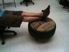 Repurposed tire foot stool