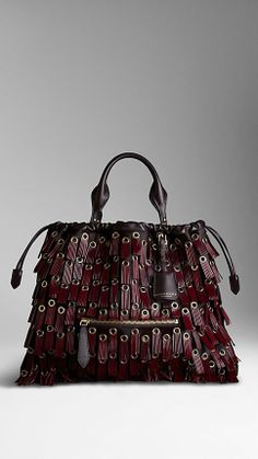 Burberry The Big Crush with Fringed Eyelets Fashion Handbags, Purses And Handbags, Fashion Bags, Leather Purses, Leather Bag, Leather Fringe, Real Leather, Leather Handbags, Bordeaux