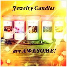 Jewelry Candles are AWESOME!!!! So many reasons why: 1. They are HIGHLY scented, all-natural soy candles 2. They don't have one but TWO wicks so you won't have to struggle with tunneling. 3. Every single candle contains a hidden jewel worth anywhere from $10-$7500, whether it be a ring, necklace, bracelet or earrings!  The diamond jewels are from Tiffany & Co., and the fashion jewels are also very PRETTY!!!! #JewelryCandles