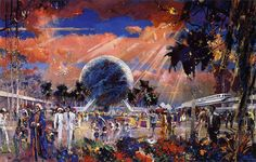 Concept Painting for EPCOT Center. At the time EPCOT stood for Experimental Prototype Community Of Tomorrow Disney Fails, Disneyland, Disney World News, Walt Disney Imagineering, Museum Poster, Epcot Center, Disney Concept Art, Disney Posters, Disney Fun