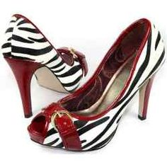 Black and White and Red (all over) Peep Toe Heel Pumps. Zebra stripes with red heel, collar, and buckled belt over the toes show the animal print trending style on these women's high heeled shoes.
