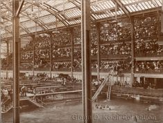 Photo showing the packed interior of the Sutro Baths, Ocean Beach, San Francisco. Photo by Taber. Glenn D. Koch Collection
