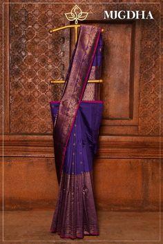 Wedding Elegant Gold Receptions New Ideas Indian Bridal Sarees, South Indian Sarees, Indian Beauty Saree, Ethnic Sarees, Blue Silk Saree, Satin Saree, Cotton Saree, Drape Sarees, Saree Tassels
