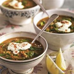 Middle Eastern-spiced spinach and lentil soup with garlic yogurt