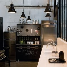 Stainless steel, white walls, hanging lamps, white countertops = money