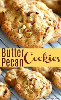 Butter Pecan Cookies - These Butter Pecan Cookies feature a buttery homemade cookie dough embellished with pecans and toffee bits. That combination turns these cookies into an out of this world snack with a glass of cold milk. Pecan Cookie Recipes, Butter Pecan Cookies, Cream Cookies, Coconut Cookies, Bakery Style Cookie Recipe, Pecan Sandie Cookie Recipe, Pecan Sandies Cookies, Pecan Pie Cupcakes, Shortbread Cookies