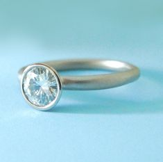 Moissanite Engagement Ring  Recycled 14k Palladium by esdesigns