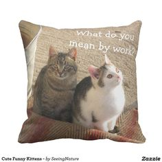 Customizable Throw Pillow made by Zazzle Home. Funny Kittens, Pillow Fight, Create Your Own, Throw Pillows, Cute, Design, Funny Cute Kittens, Cushions, Funny Kitties