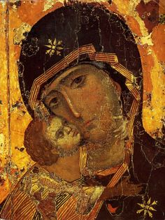 """The original orthodox icon of the Most Holy Theotokos, Panagia, Virgin Mary, the Mother of God of """"Vladimir"""". Copy of an iIcon of 12 century, Tretyakov Gallery in Moscow. The icon of Theotokos of Vladi Byzantine Icons, Byzantine Art, Religious Icons, Religious Art, Virgin Mary Art, Catholic Art, Art Icon, Orthodox Icons, Medieval Art"""