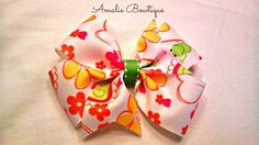 Hair Bow  Frogs and Flowers Pinwheel Style by AmalieBowtique, $4.50