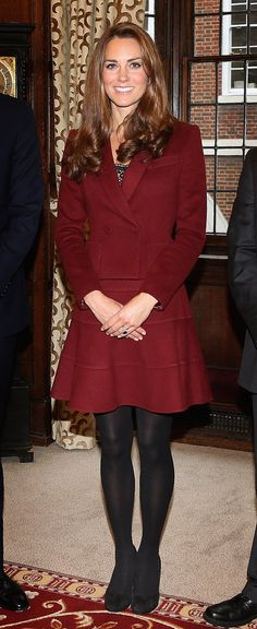 Kate Middleton. Love the red jacket.