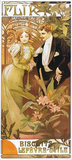 Alphonse Mucha - A4 Flirt - Biscuits Lefevre-Utile, c.1895. | Flickr - Photo Sharing!