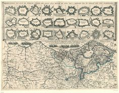 Map of the Netherlands with Dutch fortified cities which were conquered by the French in 1672, ending the Dutch Golden Age