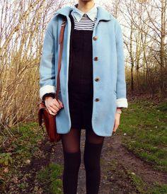 by Noé Sîn, satchel, knee socks, blue coat, retro, winter, autumn, pinafore, collar, dress