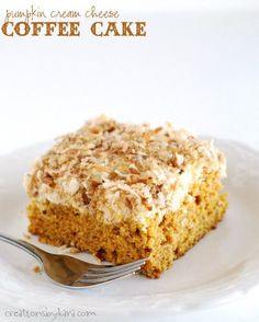 Pumpkin Coffee Cake with a cream cheese topping. Delicious for breakfast or brunch!