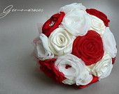 Bridal Fabric Bouquet - Brooch Bouquet - ivory and Red Fabric Bouquet, Unique Wedding Bridal Bouquet