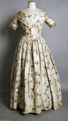 Augusta Auctions, November 10, 2010 - St. Pauls - NYC, Lot 196: Painted Silk Evening Gown, 1840s