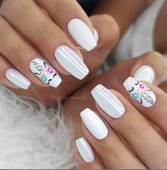 Easy Spring Nails Spring Nail Art Designs To Try In Simple spring nails colors for acrylic nails, gel nails, shellac spring nails, as well as short spring nails. These easy Spring nail art ideas with flowers, glitter and pastel colors are a must try. Unicorn Nails Designs, Unicorn Nail Art, Cute Spring Nails, Cute Nails, Summer Nails, Square Nail Designs, Nail Art Designs, Mermaid Nails, Pretty Nail Art
