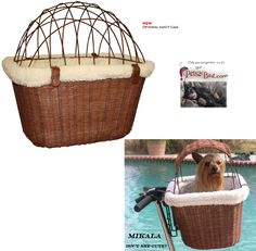 Bicycle Baskets for Pets | WICKER DOG BICYCLE BASKET carrier Tagalong pet bike carriers
