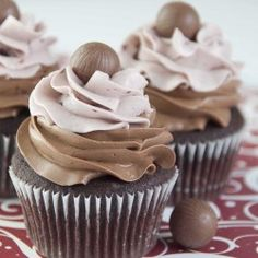 Decadent chocolate cupcakes topped with a LINDOR Truffle!