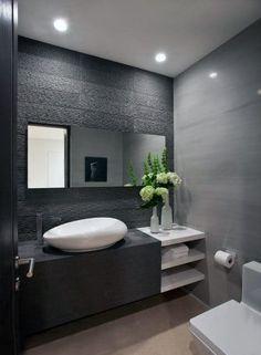 Small Bathroom Tiles, Bathroom Vanity Designs, Gray Bathroom Decor, Guest Bathrooms, Bathroom Design Luxury, Modern Bathroom Design, Bathroom Art, Bathroom Ideas, Bathroom Remodeling