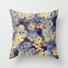 'Floral Mauve - Blue - Yellow' throw pillow by LLL Creations. This design is available in many different products. #society6 #society6_products #LLLCreations #throwpillows