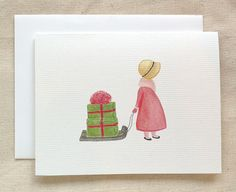 Christmas Card Watercolor Girl