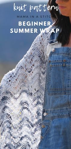 This pattern looks complicated, but it couldn't be any easier! It's so light and airy for summer and great for knitters who want to move just beyond the basic knit and purl stitches! SO easy! Beginner Knitting Patterns, Knitting For Beginners, Knitting Designs, Knitting Projects, Crocheting Patterns, Knitting Tutorials, Yarn Projects, Knitting Ideas, Knit Wrap Pattern