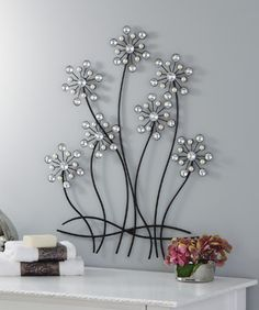 Faux Pearls & Gems Flower Wall Decor Art