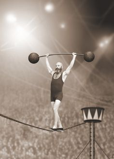 Trapeze artist walking on tightrope while weight lifting. Dark Circus, Circus Art, Circus Theme, Cirque Vintage, Vintage Circus, Cirque Photo, Clown Cirque, Circus Aesthetic, Pierrot Clown