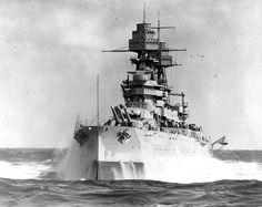 USS Arizona (BB-39) pitching in heavy seas during the 1930's.