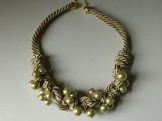 Rope Statement Necklace Pearl Spiral Knot por SakuraPink en Etsy