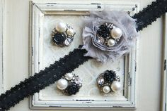 4 Metal BLACK Flower Pearl Cluster Buttons Flatback
