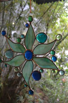 Aqua and Lime Mix stained glass sun. by PaneintheGlassGifts